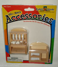 RYAN'S ROOM MINI DOLLHOUSE FURNITURE WOODEN KITCHEN DISHES & TOWEL RACK TOY SET