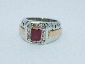 Men's Engagement & Wedding Modernist Halo Band 14k White Gold 2.1Ct Emerald Ruby