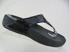 FIT FLOP Lulu Black Sz 8 Women Sequence Flip Flop Sandals
