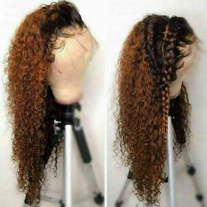 Luxury Lace Front Curly Ombre Full Lace Human Hair Wig Auburn Brown Color #30