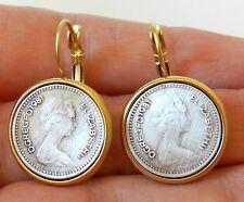 Vtg Gold plated 24K Dangle Earrings British Pound Elizabeth 1981 Silver Coin