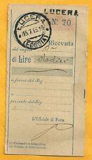 Ricevuta di Vaglia Postale di 12 Lire anno 1915 - Originale con tariffario