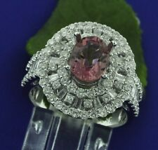 3.98ct 18k Solid White Gold Ladies Natural Pink Tourmaline Diamond Ring Baguette