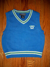 Kitestrings Boys Size 2T Lake Blue Tipped V-Neck Cotton Sweater Vest