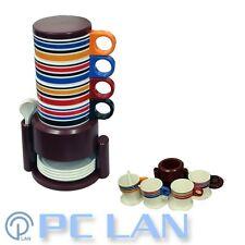 Brown Rainbow Stripes Coffee Tea Plastic 4 Cups Set +4 tea Spoons +4 Cup Plates