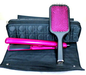 """GHD Pink Diamond 1""""  Flat Iron Styler with Paddle Brush and Rollbag"""