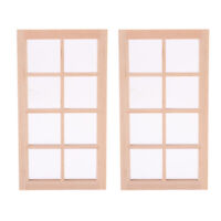 2 Pieces 1/12 Scale Wooden 8-Pane Door Window Dollhouse Furniture for Bedroom