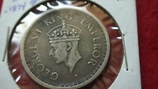 1945  BRITISH INDIA ONE SILVER RUPEE KM#557.1 -Bombay and Security Edge