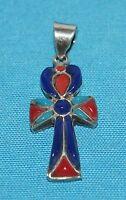 pendentif croix Ankh en argent émaillé