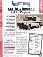 4X4 Aro 10 Duster 4 Cyl. 1985 Roumanie Romania Car Auto Voiture FICHE FRANCE