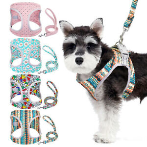Cute Floral Soft Mesh Fabric Dog Puppy Pet Adjustable Harness & Lead Padded Vest