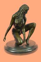 Art Deco Sculpture Nude Girl Woman Nakded Goddess Bronze Statue Figurine Figure