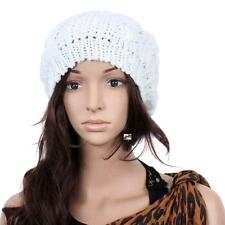 HOT Fashion Women Girls Beret Braided Baggy Beanie Crochet Hat Ski Cap White MTC