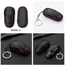 Black Durable Genuine Leather Smart Key Fob Cover Holder Case for Tesla Model X