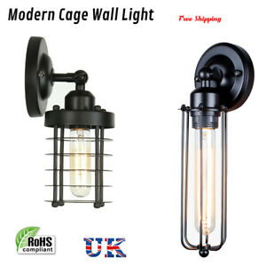 Retro industrial iron cage wall vintage light up down bar sconce lamp wire cage