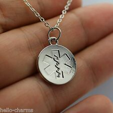 Silver Medical Alert Charm Necklace - Rhodium Plated Medical ID Tag Pacemaker