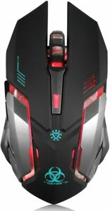 Wireless Mouse, Adjustable DPI,  Rechargeable, 6 Buttons, Led lights, Ergonomic