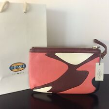 New Authentic FOSSIL Sofia Wristlet Leather Clutch Pouch BNWT rrp$129