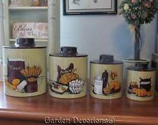 Set of 4 VINTAGE HARVEST CANISTER SET Flour Eggs Dairy Potatoes RANSBURG USA