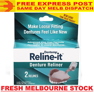 DENTEMP D.O.C. RELINE-IT DENTURE RELINER *FREE EXPRESS POST* MELBOURNE STOCK NEW