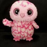 "Ty Beanie Boo's 6"" Pinky Pink White Owl Plush stuffed animal toy Bean Bag"