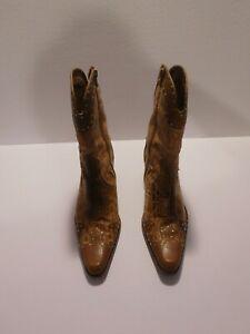Stuart Weitzman Womens 7 M Cork/Tan Leather Cowgirl Western Boots