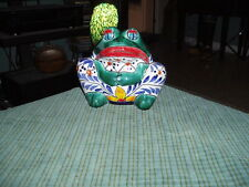 Vintage HAND PAINTED TERRA COTTA CERAMIC FROG PLANTER Made In Mexico