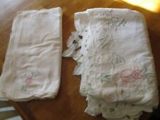 White floral  vintage  Table Cloth &12 napkins Lace Cut Outs  63 x 98 beautiful