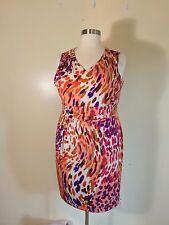 CLINTON KELLY Plus Size 22W Animal Print Dress Polyester Orange Purple Coral