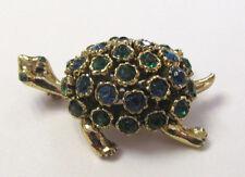 VINTGE 1950s 60s TORTOISE TURTLE BROOCH CRYSTALS GOLDEN FRAME BLUE GREEN