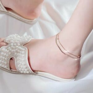 Rose-Gold-plated 23cm+5cm abjustable anklets
