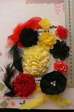 RED YELLOW & BLACK Organza Lace 6 Feathers+9 Flower Pk 25-80mm NjoyfullCrafts Z2