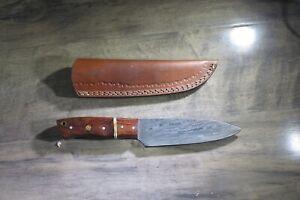 Medium Damascus butcher knife knife two tone wood/ceramic handle leather sheath