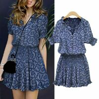 BOHO Women Floral Summer Sexy Casual Short Sleeve Slim Tunic Mini Dress Cocktail