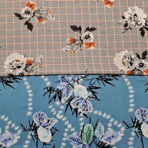 """Rose And Leaves Printed Viscose Fabric 55"""" Wide Sold By The Metre"""