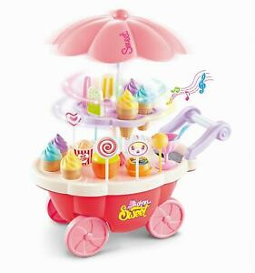 SOKA 36 Pcs Kids Ice Cream Trolley with Light and Sound - Pretend Play Food Toy