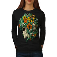 Wellcoda Beautiful Flower Skull Womens Long Sleeve T-shirt,  Casual Design