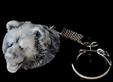 Bear Head Marble Stone Figurine Keychain Keyring Pendant Russian Art Sculpture