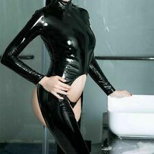 Lady Front Zipper Leather Jumpsuit Wetlook PVC Latex Bodysuit Crotchless Catsuit