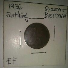 New listing 1936 Great Britain King George V Farthing Coin - Last Year Of Reign - Xf Item !