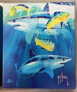 Guy Harvey Art Sharks & Bull Dolphins on canvas stretched on frame 12x14