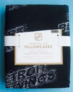 Pottery Barn Kids NHL Shaved Ice Set of 2 Standard Pillowcases Black Cotton NWT