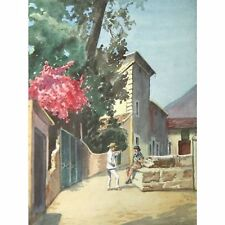 Holloway Bristol selvaggi artista mediterraneo Villaggio Scena PITTURA 33 x 25 cm