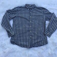 J Crew Men's Plaid Button Down Tailored Fit Washed Casual Blue Brown Shirt Sz L
