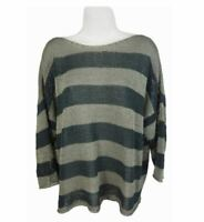 Eileen Fisher Size M Organic Cotton Pullover Boxy Green Striped Sweater