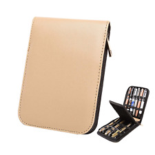 Fountain Roller Ball Pen Case Holder PU Leather Bag for 12 Pens Color Beige