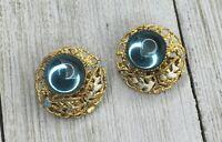 Vintage Aqua Blue Glass Stone Gold Tone Clip On Earrings