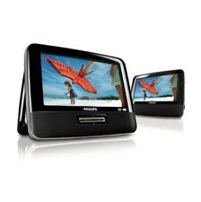 """Philips 7"""" Dual-Screen Portable DVD Player Stereo Speaker - Black (PET7402A)™"""
