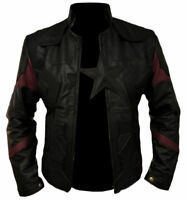 Men's Captain America Avengers Infinity War Chris Evans Black Leather Jacket