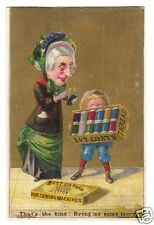 J & P Coats Spool Cotton Trade Card  -Woman, Child with Box of Thread